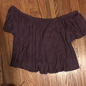 Off the shoulder purple shirt